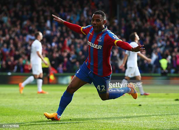 Jason Puncheon of Crystal Palace celebrates his team's first goal during the Barclays Premier League match between Crystal Palace and Manchester...