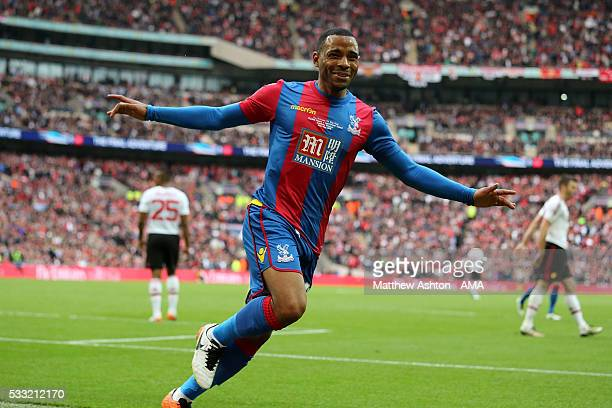 Jason Puncheon of Crystal Palace celebrates scoring a goal to make the score 10 during The Emirates FA Cup final match between Manchester United and...