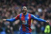 Jason Puncheon of Crystal Palace celebrates scoring his team's first goal during the Barclays Premier League match between Crystal Palace and Norwich...