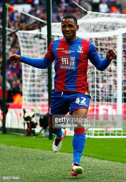 Jason Puncheon of Crystal Palace celebrates scoring his team's first goal during The Emirates FA Cup Final match between Manchester United and...