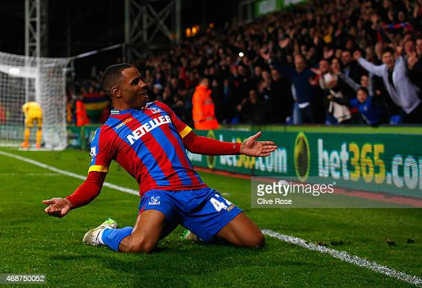 Jason Puncheon of Crystal Palace celebrates scoring his team's second goal during the Barclays Premier League match between Crystal Palace and...