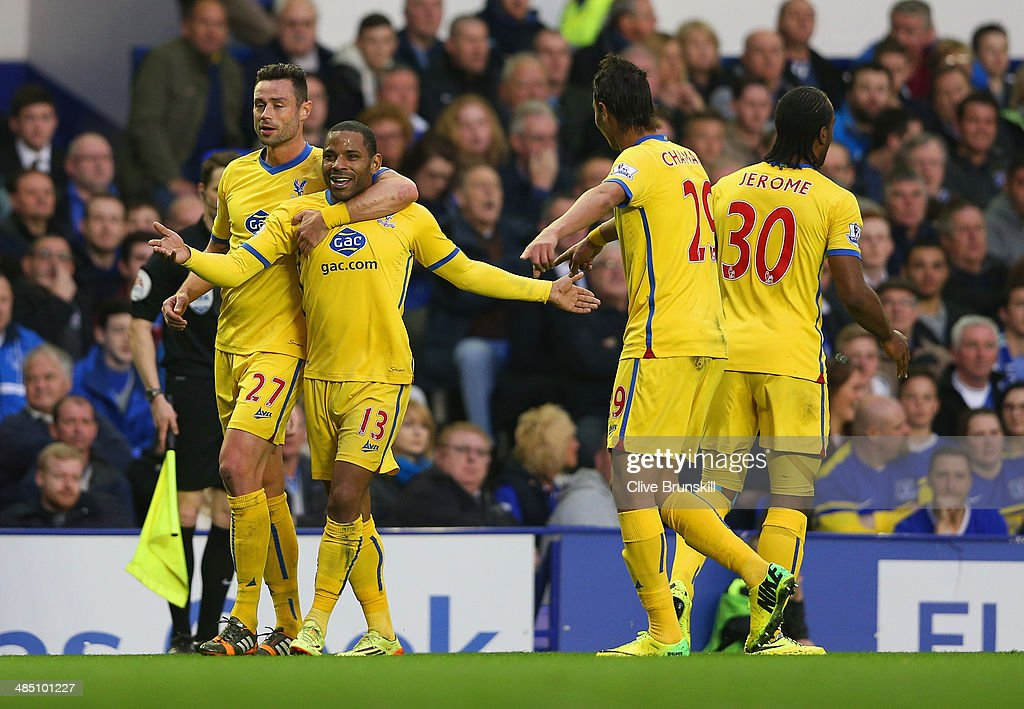 <a gi-track='captionPersonalityLinkClicked' href=/galleries/search?phrase=Jason+Puncheon&family=editorial&specificpeople=747694 ng-click='$event.stopPropagation()'>Jason Puncheon</a> of Crystal Palace celebrates scoring the first goal with Damien Delaney (L) of Crystal Palace during the Barclays Premier League match between Everton and Crystal Palace at Goodison Park on April 16, 2014 in Liverpool, England.