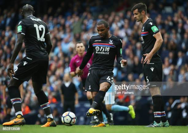 Jason Puncheon of Crystal Palace in action during the Premier League match between Manchester City and Crystal Palace at Etihad Stadium on September...
