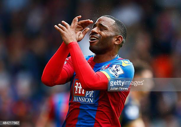 Jason Puncheon of Crystal Palace reacts during the Barclays Premier League match between Crystal Palace and Arsenal at Selhurst Park on August 16...
