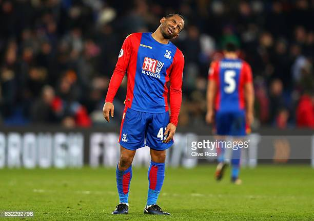 Jason Puncheon of Crystal Palace reacts during the Premier League match between Crystal Palace and Everton at Selhurst Park on January 21 2017 in...