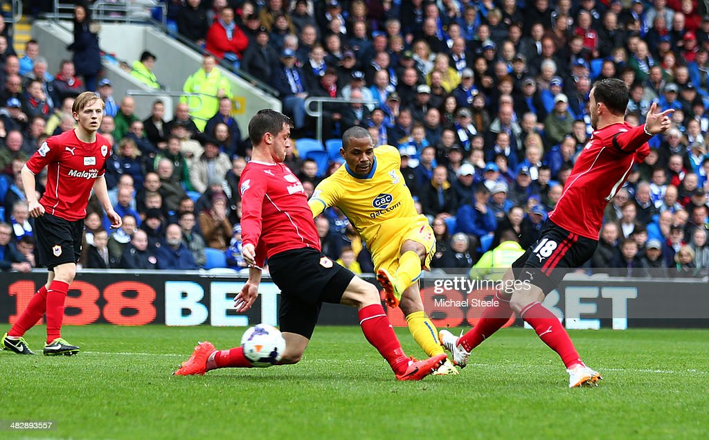 Jason Puncheon of Crystal Palace scores the opening goal during the Barclays Premier League match between Cardiff City and Crystal Palace at Cardiff...