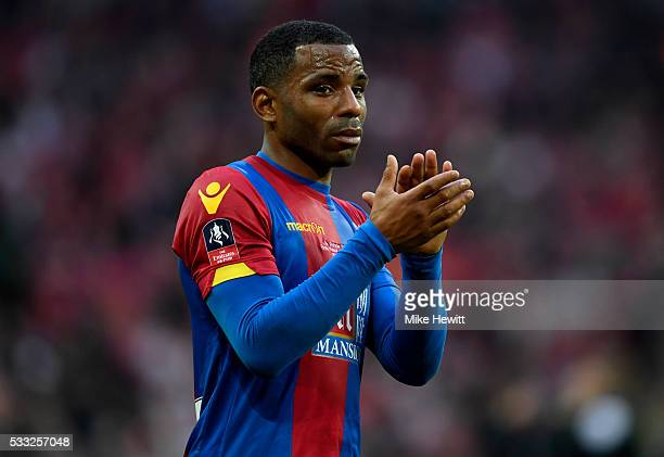 Jason Puncheon of Crystal Palace show his emotions in defeat after The Emirates FA Cup Final match between Manchester United and Crystal Palace at...