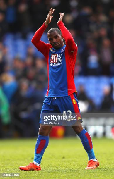 Jason Puncheon of Crystal Palace shows appreciation to the fans after the Premier League match between Crystal Palace and Leicester City at Selhurst...