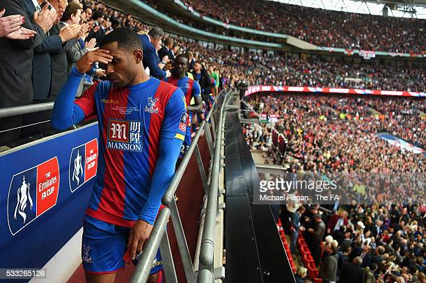 Jason Puncheon of Crystal Palace shows his dejection as he receives the runnersup medal during The Emirates FA Cup Final match between Manchester...
