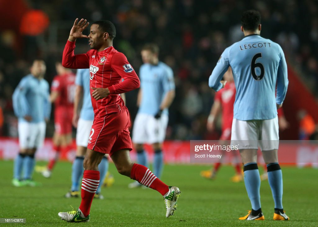 Jason Puncheon of Southampton celebrates scoring their first goal during the Barclays Premier League match between Southampton and Manchester City at St Mary's Stadium on February 9, 2013 in Southampton, England.