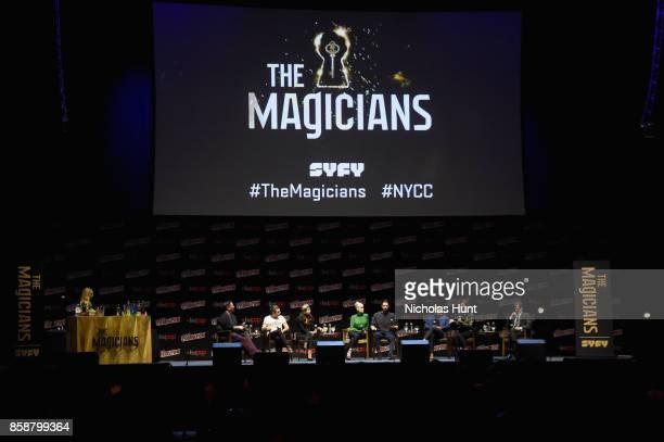 Jason Ralph Stella Maeve Olivia Taylor Dudley Hale Appleman Arjun Gupta and Jade Tailor speak at The Magicians Panel during 2017 New York Comic Con...