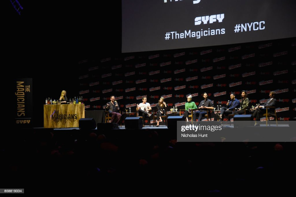 Jason Ralph, Stella Maeve, Olivia Taylor Dudley, Hale Appleman, Arjun Gupta and Jade Tailor speak at The Magicians Panel during 2017 New York Comic Con - Day 3 on October 7, 2017 in New York City.