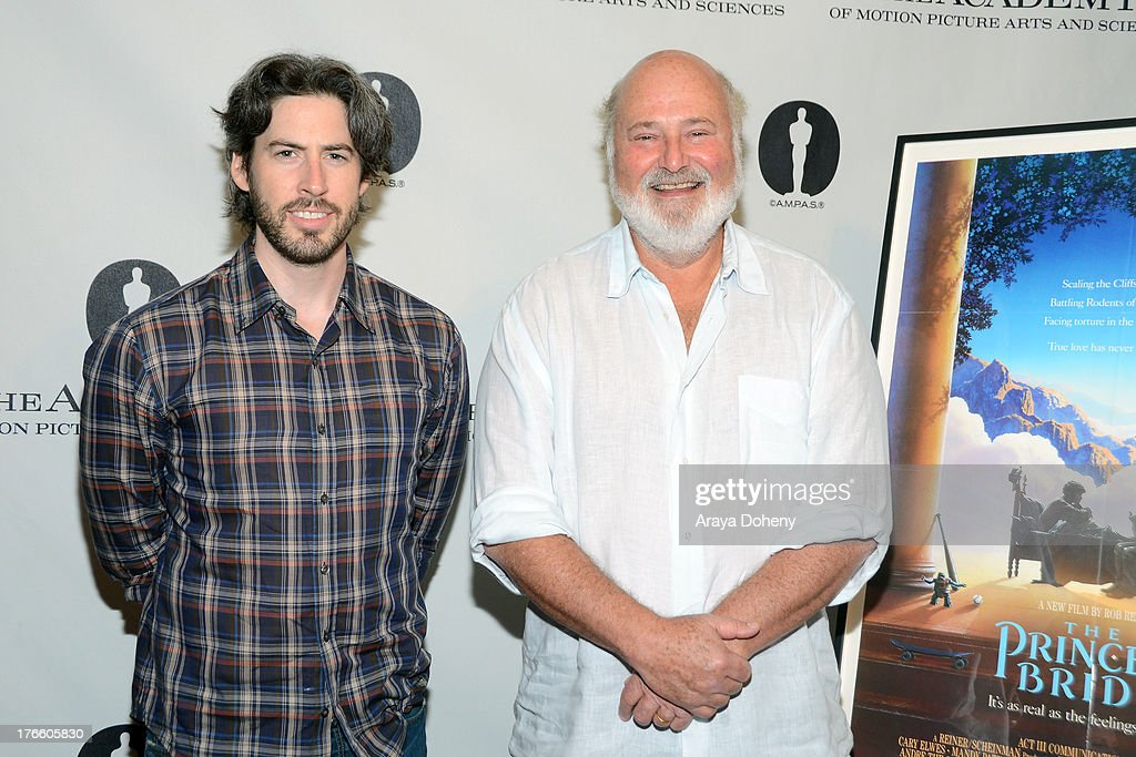<a gi-track='captionPersonalityLinkClicked' href=/galleries/search?phrase=Jason+Reitman&family=editorial&specificpeople=627880 ng-click='$event.stopPropagation()'>Jason Reitman</a> and <a gi-track='captionPersonalityLinkClicked' href=/galleries/search?phrase=Rob+Reiner&family=editorial&specificpeople=208749 ng-click='$event.stopPropagation()'>Rob Reiner</a> attend the Academy Of Motion Picture Arts And Sciences' Presents 'The Princess Bride' With Live Commentary Onstage at AMPAS Samuel Goldwyn Theater on August 15, 2013 in Beverly Hills, California.