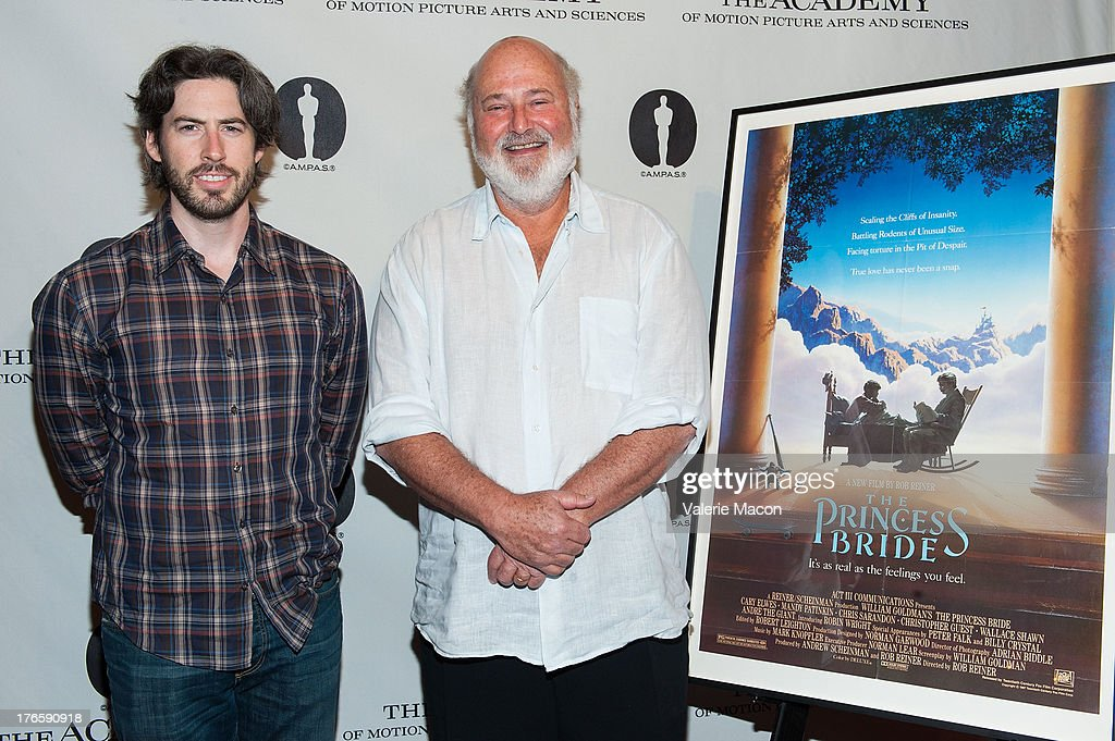 Jason Reitman and Rob Reiner attends the Academy Of Motion Picture Arts And Sciences' Presents 'The Princess Bride' With Live Commentary Onstage at AMPAS Samuel Goldwyn Theater on August 15, 2013 in Beverly Hills, California.