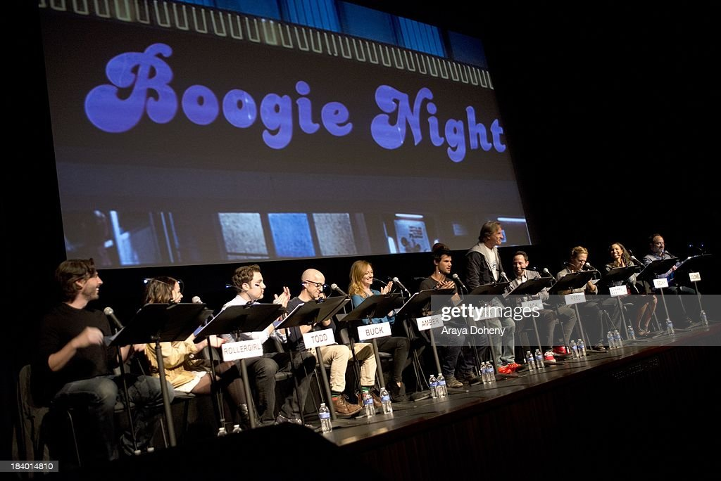 Jason Reitman, Mae Whitman, Jarod Einsohn, Jim Rash, Judy Greer, Taylor Lautner, Don Johnson, Nick Kroll, Nat Faxon, Jurnee Smollett and Kevin Pollak at the Film Independent at LACMA - 'Boogie Nights' live read directed by Jason Reitman at Bing Theatre At LACMA on October 10, 2013 in Los Angeles, California.