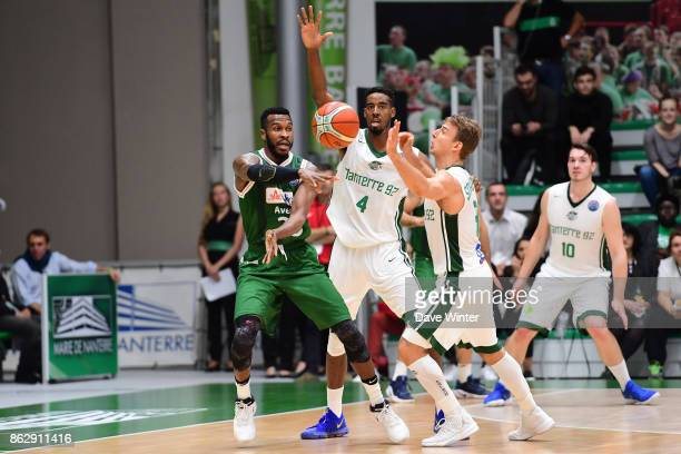 Jason Rich of Sidigas Avellino Alade Aminu of Nanterre and Heiko Schaffartzik of Nanterre during the Basketball Champions League match between...
