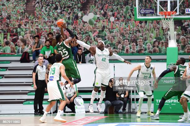 Jason Rich of Sidigas Avellino and Johan Passave Ducteil of Nanterre during the Basketball Champions League match between Nanterre 92 and Sidigas...