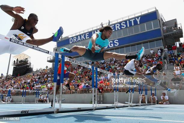 Jason Richardson competes in the Men's 110 Meter Hurdles on day three of the 2013 USA Outdoor Track Field Championships at Drake Stadium on June 22...