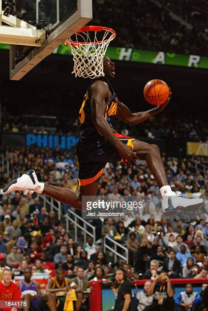 Jason Richardson of the Golden State Warriors makes his final dunk to win the Sprite Rising Stars Slam Dunk Contest during the 2003 NBA AllStar...