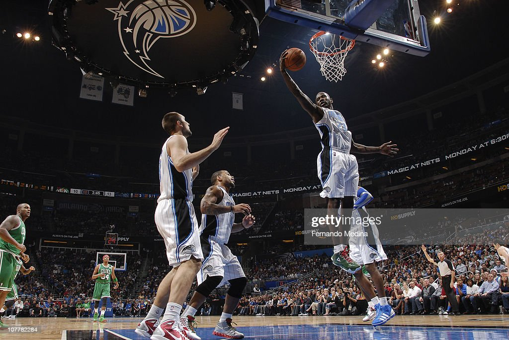 Jason Richardson #23 of the Orlando Magic grabs a rebound against the Boston Celtics on December 25, 2010 at the Amway Center in Orlando, Florida.