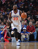 Jason Richardson of the Philadelphia 76ers dribbles up the court against the Indiana Pacers at Wells Fargo Center on February 20 2015 in Philadelphia...