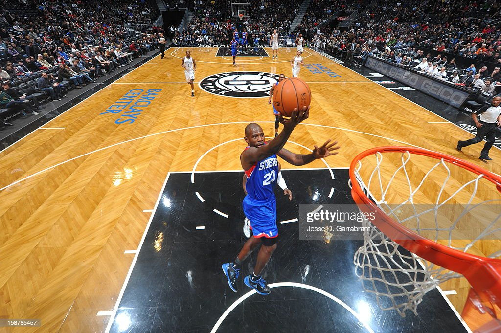 Jason Richardson #23 of the Philadelphia 76ers drives to the basket against the Brooklyn Nets at the Barclays Center on December 23, 2012 in Brooklyn, New York.