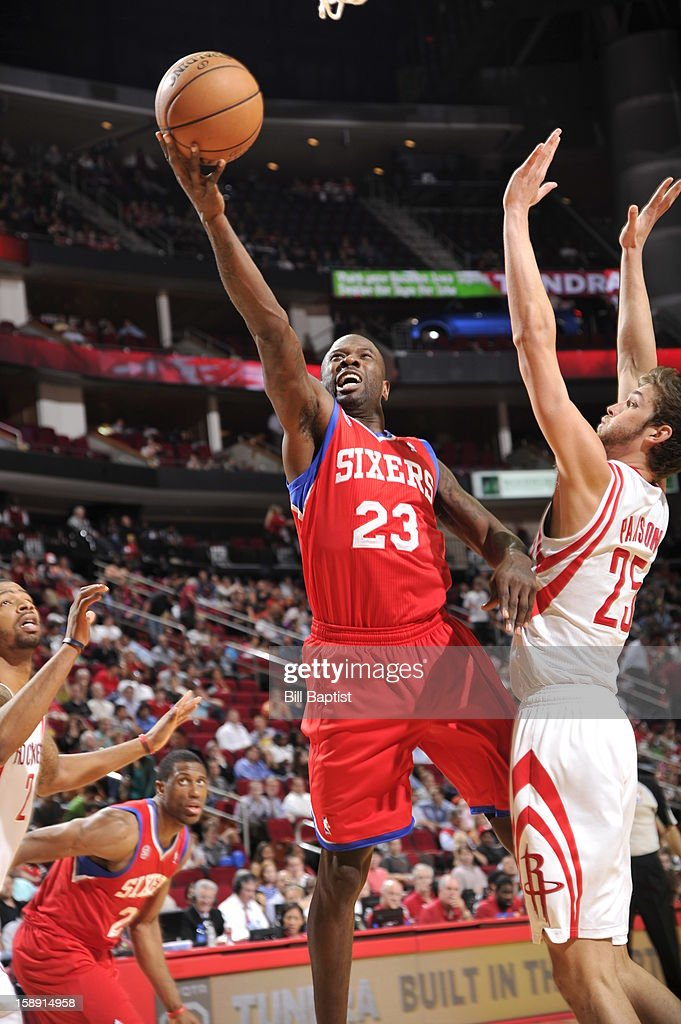Jason Richardson #23 of the Philadelphia 76ers drives to the basket against the Houston Rockets on December 19, 2012 at the Toyota Center in Houston, Texas.