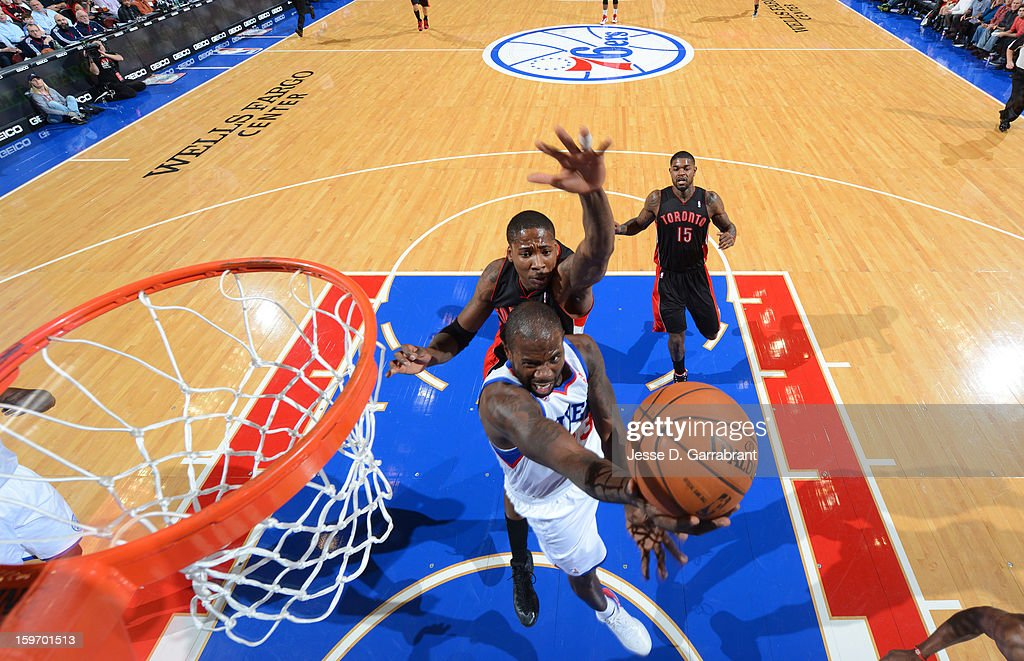 Jason Richardson #23 of the Philadelphia 76ers drives to the basket against the Toronto Raptors during the game at the Wells Fargo Center on January 18, 2013 in Philadelphia, Pennsylvania.