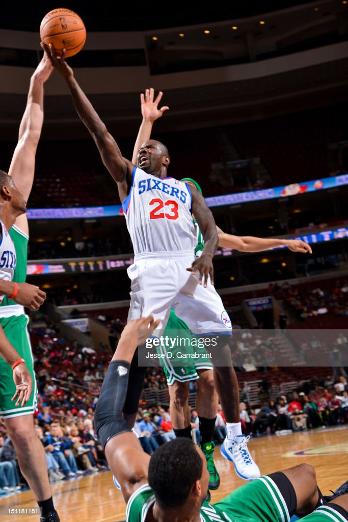 Jason Richardson #23 of the Philadelphia 76ers goes to the basket against the Boston Celtics during a pre-season game at the Wells Fargo Center on October 15, 2012 in Philadelphia, Pennsylvania.