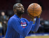 Jason Richardson of the Philadelphia 76ers warms up prior to the game against the Indiana Pacers on February 20 2015 at the Wells Fargo Center in...
