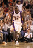 Jason Richardson of the Phoenix Suns celebrates after hitting a three point shot against the Portland Trail Blazers during Game Two of the Western...