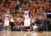 Jason Richardson of the Phoenix Suns celebrates after hitting a three point shot against the San Antonio Spurs during Game One of the Western...