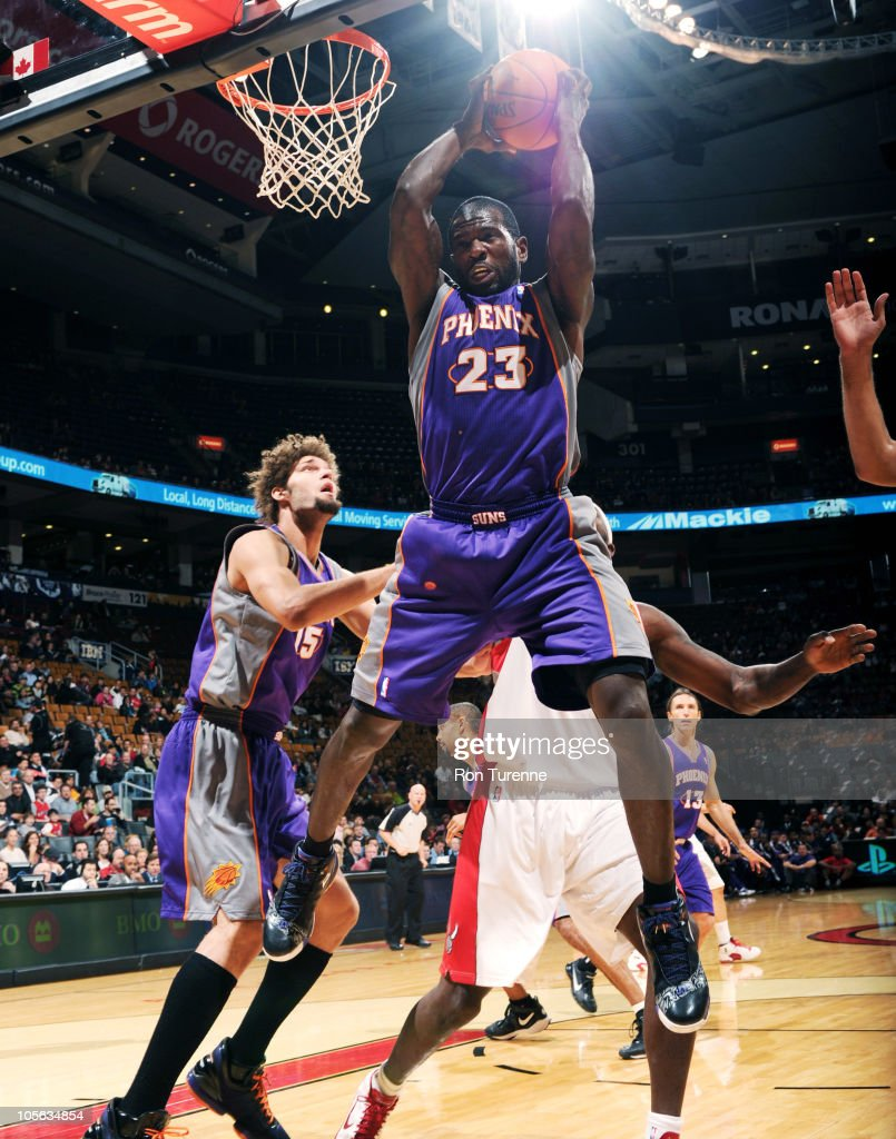 Jason Richardson of the Phoenix Suns grabs the board in traffic during a game against the Toronto Raptors on October 17 2010 at the Air Canada Centre...