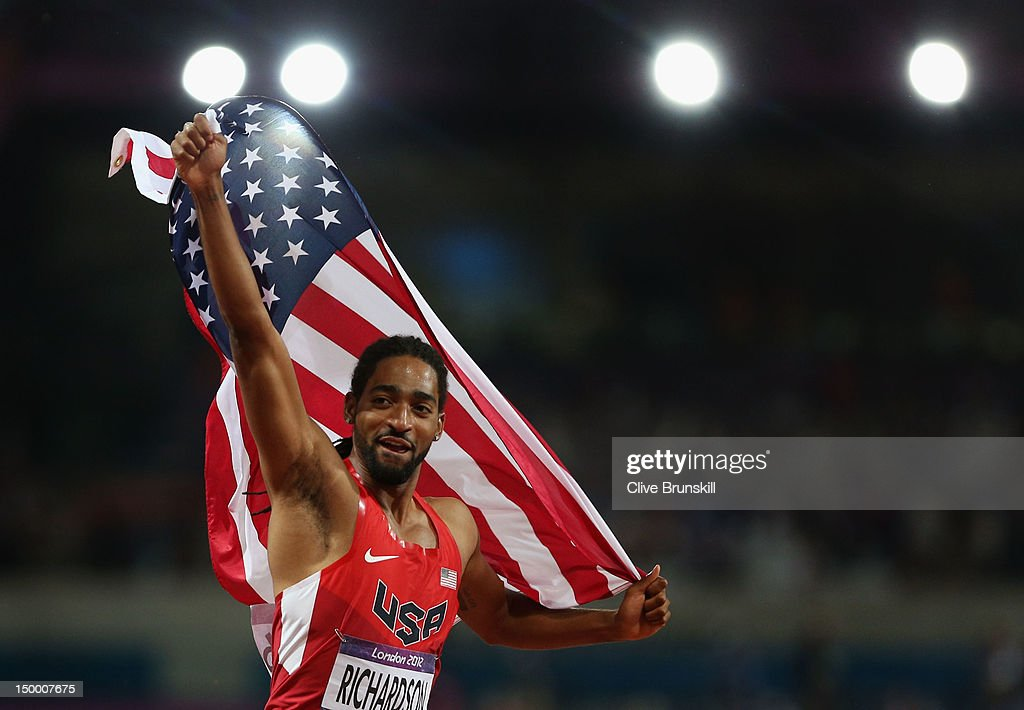 Jason Richardson of the United States celebrates after winning the silver medal in the Men's 110m Hurdles Final on Day 12 of the London 2012 Olympic Games at Olympic Stadium on August 8, 2012 in London, England.