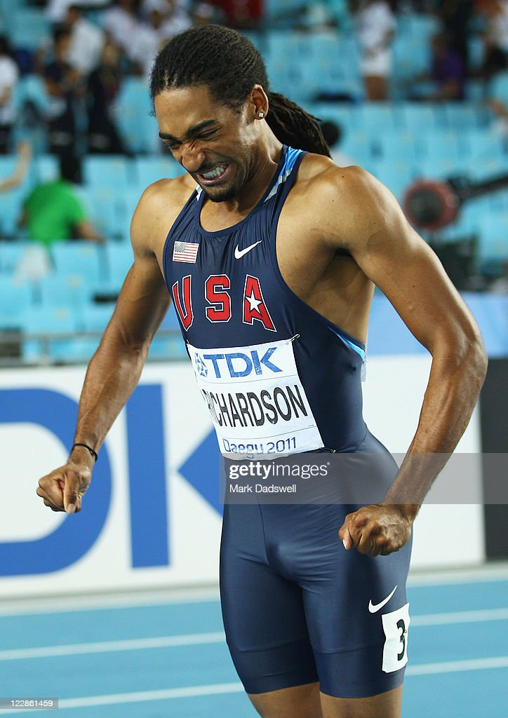 <a gi-track='captionPersonalityLinkClicked' href=/galleries/search?phrase=Jason+Richardson+-+Hurdler&family=editorial&specificpeople=15223987 ng-click='$event.stopPropagation()'>Jason Richardson</a> of United States reacts after the men's 110 metres hurdles final during day three of the 13th IAAF World Athletics Championships at the Daegu Stadium on August 29, 2011 in Daegu, South Korea. Richardson was awarded the gold medal after Dayron Robles of Cuba was disqualified.