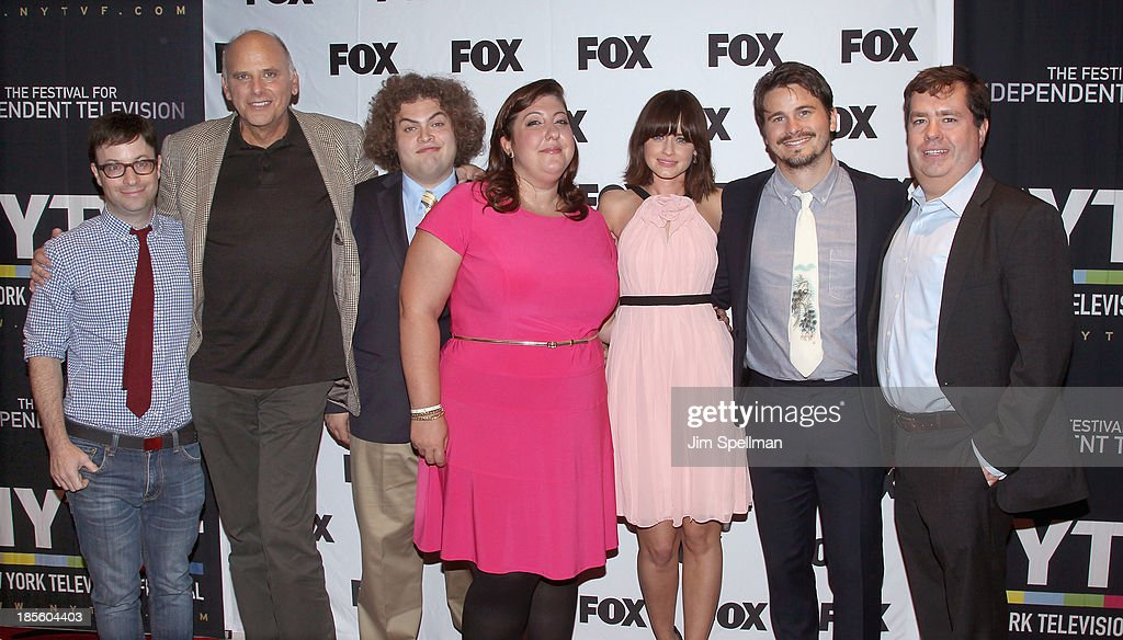 <a gi-track='captionPersonalityLinkClicked' href=/galleries/search?phrase=Jason+Ritter&family=editorial&specificpeople=209201 ng-click='$event.stopPropagation()'>Jason Ritter</a>, <a gi-track='captionPersonalityLinkClicked' href=/galleries/search?phrase=Alexis+Bledel&family=editorial&specificpeople=206123 ng-click='$event.stopPropagation()'>Alexis Bledel</a>, <a gi-track='captionPersonalityLinkClicked' href=/galleries/search?phrase=Ashlie+Atkinson&family=editorial&specificpeople=577478 ng-click='$event.stopPropagation()'>Ashlie Atkinson</a>, Dustin Ybarra, and Kurt Fuller attend the 'Us And Them' series screening at SVA Theater on October 22, 2013 in New York City.