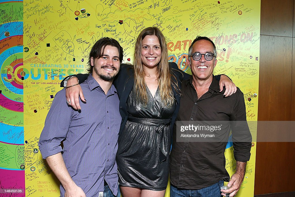 <a gi-track='captionPersonalityLinkClicked' href=/galleries/search?phrase=Jason+Ritter&family=editorial&specificpeople=209201 ng-click='$event.stopPropagation()'>Jason Ritter</a>, Mariana Polka and John Cooper at The Sundance Alumni Event At Outfest Festival held at The DGA Theater on July 16, 2012 in Los Angeles, California.
