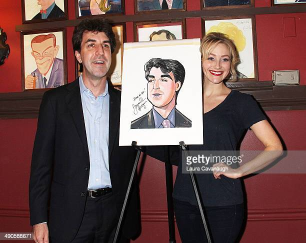 Jason Robert Brown and Betsy Wolfe attend the unveiling of Jason Robert Brown's Sardi's caricature at Sardi's on May 14 2014 in New York City