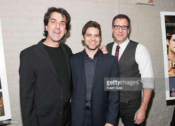 Jason Robert Brown Jeremy Jordan and Richard LaGravenese attend 'The Last Five Years' New York premiere at the Minetta Lane Theatre on February 9...