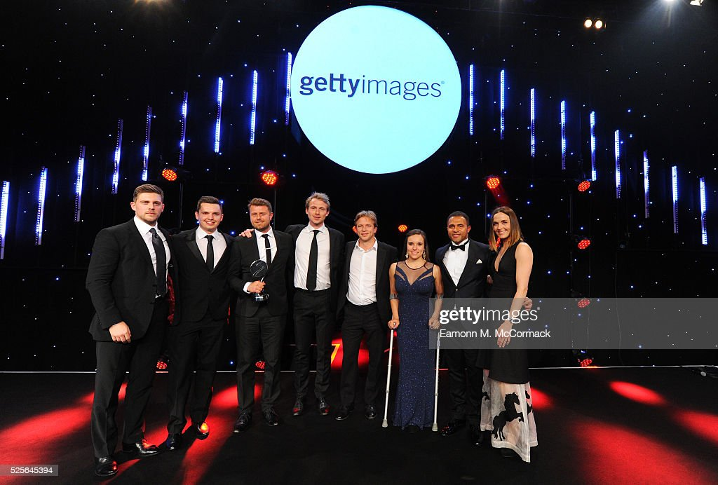 Jason Robinson and Jade Jones present the Best Use of PR in association with Getty Images to Betfair Switching Saddles at the BT Sport Industry Awards 2016 at Battersea Evolution on April 28, 2016 in London, England. The BT Sport Industry Awards is the most prestigious commercial sports awards ceremony in Europe, where over 1750 of the industry's key decision-makers mix with high profile sporting celebrities for the most important networking occasion in the sport business calendar.
