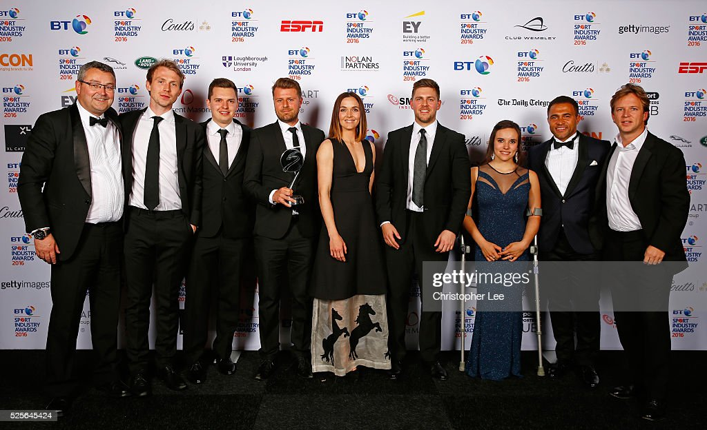 Jason Robinson and Jade Jones with Victoria Pendleton (C) and Lee Martin (L) of Getty Images present the Best Use of PR in association with Getty Images to Betfair Switching Saddles at the BT Sport Industry Awards 2016 at Battersea Evolution on April 28, 2016 in London, England. The BT Sport Industry Awards is the most prestigious commercial sports awards ceremony in Europe, where over 1750 of the industry's key decision-makers mix with high profile sporting celebrities for the most important networking occasion in the sport business calendar.