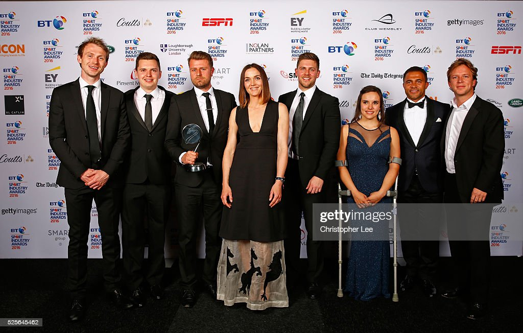 Jason Robinson and Jade Jones with Victoria Pendleton (C) present the Best Use of PR in association with Getty Images to Betfair Switching Saddles at the BT Sport Industry Awards 2016 at Battersea Evolution on April 28, 2016 in London, England. The BT Sport Industry Awards is the most prestigious commercial sports awards ceremony in Europe, where over 1750 of the industry's key decision-makers mix with high profile sporting celebrities for the most important networking occasion in the sport business calendar.