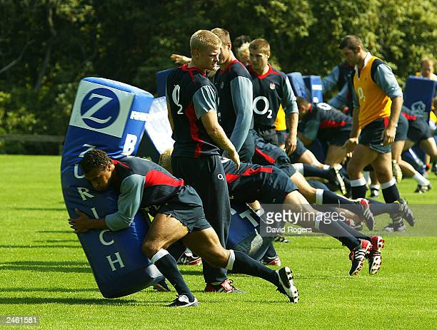 Jason Robinson the England fullback takes part in tackle practice during England rugby union training on September 4 at Pennyhill Park Hotel Bagshot...