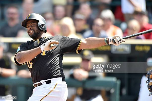 Jason Rogers of the Pittsburgh Pirates bats during a spring training game against the Tampa Bay Rays at McKechnie Field on March 11 2016 in Bradenton...