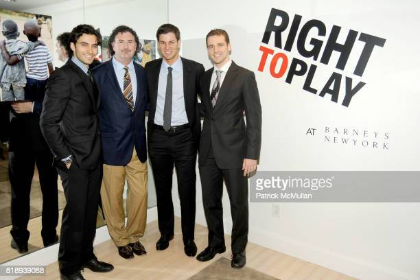 Jason Rogers Serge Timacheff Tim Morehouse and Mihail Etropolski attend RIGHT TO PLAY 'En Garde' Charity Cocktail Party at Barneys New York on May 13...