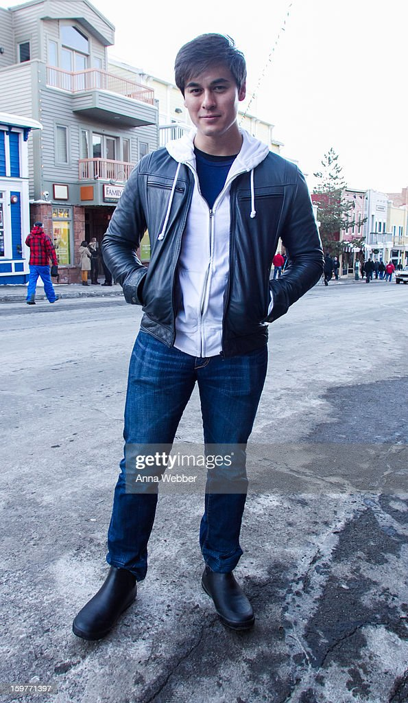 Jason Rose, actor and filmmaker from Los Angeles, fully outfitted wearing Zara jacket, Zara sweatshirt, Zara t-shirt, Zara jeans and Zara boots on January 19, 2013 on the streets of Park City, Utah.