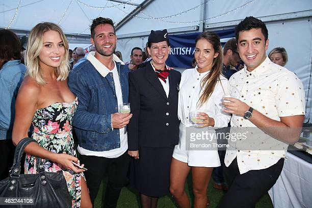 Jason Roses Aisha McKinnon and Travis Lunardi along with British Airways Ambassador pose ahead of guests enjoying exclusive first bite of the new...