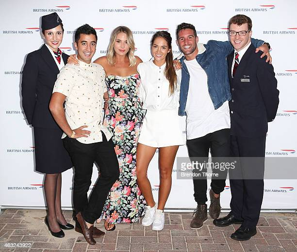 Jason Roses and guest Aisha McKinnon and Travis Lunardi along with British Airways Ambassadors pose ahead of guests enjoying exclusive first bite of...