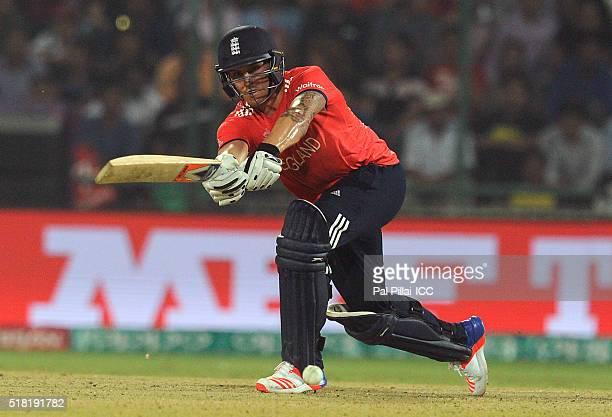 Jason Roy of England bats during ICC World Twenty20 India 2016 Semi Final match between England and New Zealand at the Feroz shah Kotla stadium on...