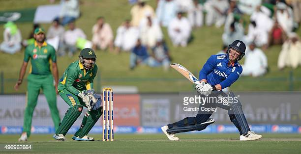 Jason Roy of England bats during the 2nd One Day International between Pakistan and England at Zayed Cricket Stadium on November 13 2015 in Abu Dhabi...